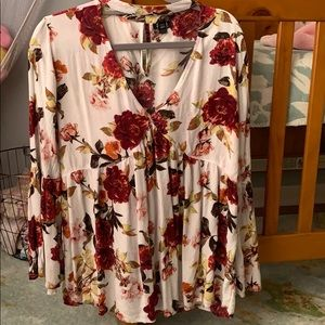 Worn once! Floral high neck a.n.a blouse